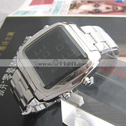 Free Shipping Fashion Multifunction Electronic Steel Wristwatch