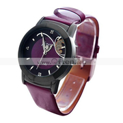 J-three Fasion Japanese Quartz Movement Round Case Leather Wrist Watch