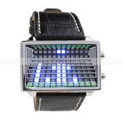 Free Shipping:Blue LED Digital Watch Gift Watch with Leather Band